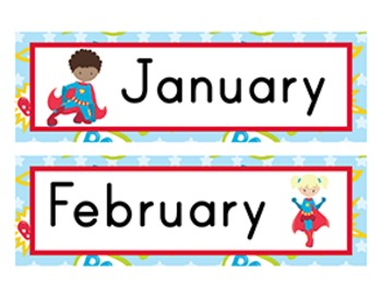 Superhero Classroom Décor | Calendar Headers
