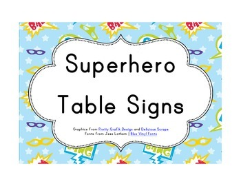 Superhero Classroom Décor | Table Signs