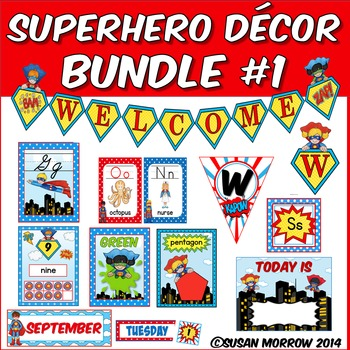 Superhero Theme Classroom Decor Bundle 1 - Instructional Resources