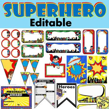 Superhero Theme Classroom Decor EDITABLE / Back to School / Meet the Teacher