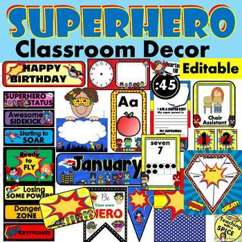 Superhero Classroom Themes Decor Bundles Editable Back To School