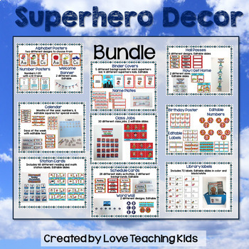 Superhero Classroom Theme Bundle- Editable