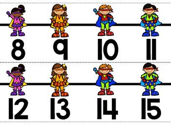 Superhero Classroom Decor:  Number  Line