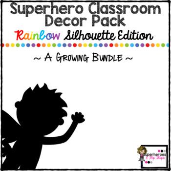 Superhero Classroom Decor Pack-Rainbow Silhouette-Growing Bundle