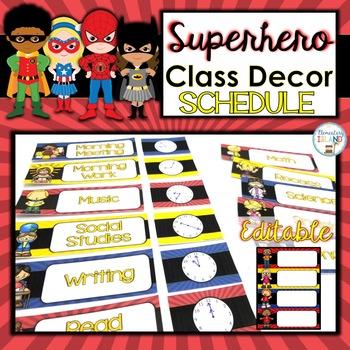 Superhero Classroom Decor Schedule EDITABLE