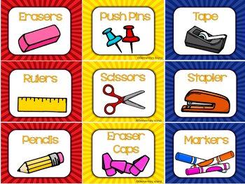 Superhero Classroom Decor Supply Labels EDITABLE