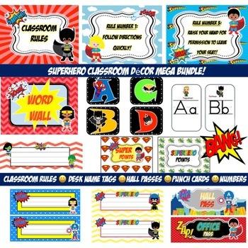Superhero Multicultural classroom Decoration Mega Bundle-Editable!