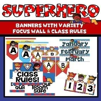 Superhero Classroom Theme Decor Bundle Editable Super Hero