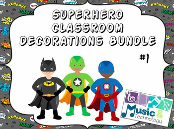 Superhero Classroom Decorations Bundle #1
