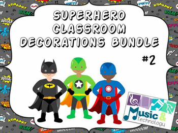 Superhero Classroom Decorations Bundle #2