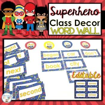 Superhero Classroom Decor Word Wall Words EDITABLE