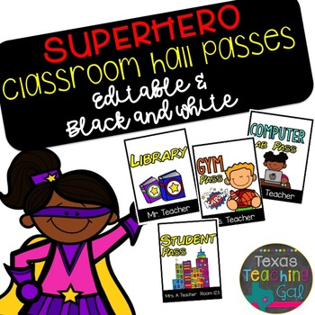 Superhero Classroom Hall Passes [Editable]