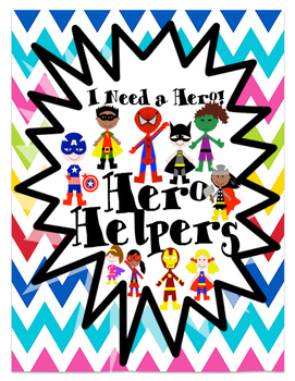 Superhero Classroom Helpers Set in Rainbow Chevron