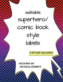Superhero Classroom Labels (Editable)