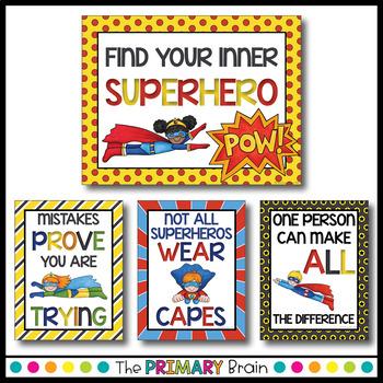 Superhero Themed Classroom Motivational Posters
