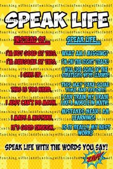 Superhero Classroom Poster Speak Life PBIS