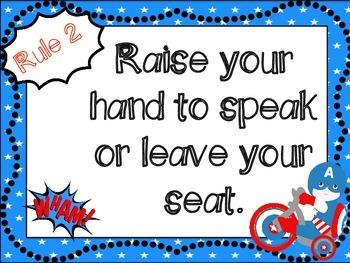 Classroom Rules: Superhero Themed