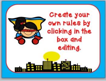 Superhero Classroom Rules Set