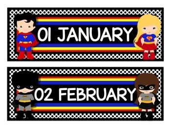 "Superhero Classroom Theme Calendar Months in Black (11""x17"")"