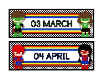 "Superhero Classroom Theme Calendar Months in White (8.5'x11"")"