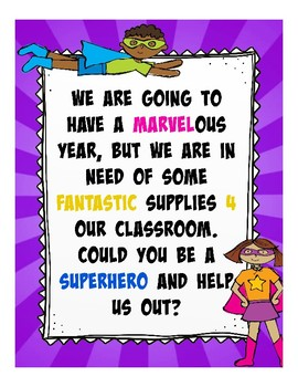Superhero Classroom Wishlist (orientation, open house, teacher nights, etc...)