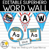 Superhero Theme Word Wall- EDITABLE! Superhero Classroom Decor