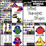Superhero Clip Art BUNDLE- Superhero Letters, Numbers, & Shapes {BOLD}
