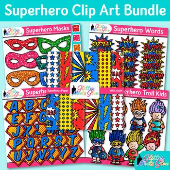Superhero Clip Art Bundle | Alphabet, Backgrounds, Mask, Troll, & Pop Art Words