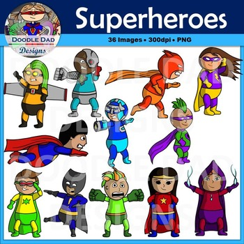 Superhero Clip Art (Flying, Cyborg, Angry, Running, Karate, Comic Book)