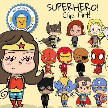 Superhero Clip Art - Katrina Keegan Clips - Cute Super hero!