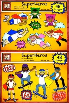 Superhero Clip Art Set with Word Art