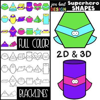 Superhero Clip Art -Superhero 2D & 3D Shapes {NEON}