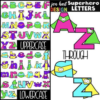 Superhero Clip Art - Superhero Letters {NEON}