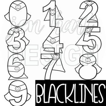 Superhero Clip Art - Superhero Numbers {NEON}