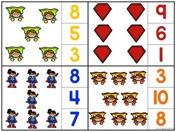 Superhero Clip Card Activities for Toddlers, Preschool, and PreK