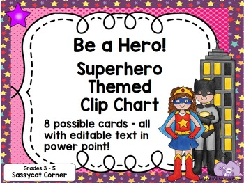 Superhero Clip Chart for for Big Kids (grades 3 - 5)