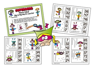 Superhero Clip & Flip Math Centers/Task Cards