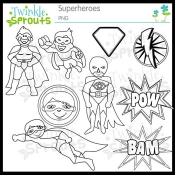 Superhero Clipart and Lineart