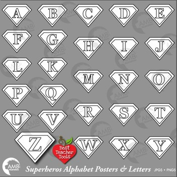 Superhero Clipart Alphabet Digital Stamps. Letters Posters and Clip Art, AMB-446
