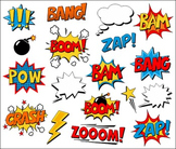 Superhero Clipart Comic Book Speech Bubbles, Boom, Zap, Bang, Bam, Crash, Pow