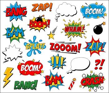 Superhero Clipart Comic Book Speech Bubbles, Boom, Zap, Bang, Bam, Crash, Pow