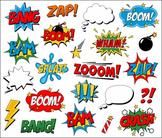 Superhero Clipart Comic Book Speech Bubbles, Boom, Zap, Ba