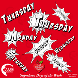 Superhero Clipart Days of the Week Digital Stamps, Back to School, AMB-1092