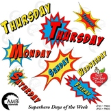 Superhero Clipart Days of the Week Full Color Clipart, Back to School, AMB-2027