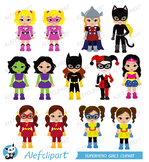 Superhero Clipart Girls Bundle  Superhero Girls Supergirl