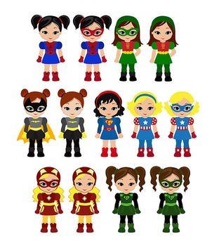 Superhero Clipart Girls Bundle Superhero Girls Supergirl Set 2