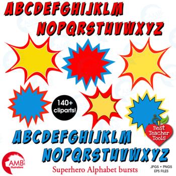 Superhero Clipart Letters Clipart, Letters Bursts, Alphabet Vectors, AMB-1341