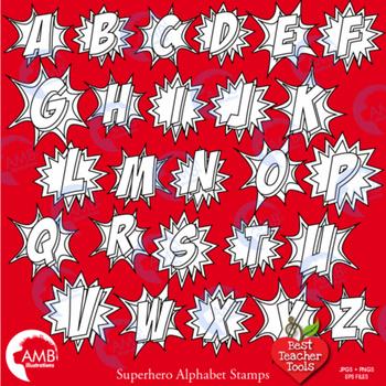 Superhero Clipart Letters Digital Stamps, Blackline Alphabet, AMB-1344