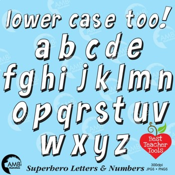 Superhero Clipart Letters and Numbers, Lower Case Alphabet Blackline, AMB-2442-6