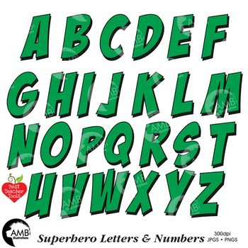 Superhero Clipart Letters and Numbers, Lower Case Alphabet GREEN, AMB-2442-4